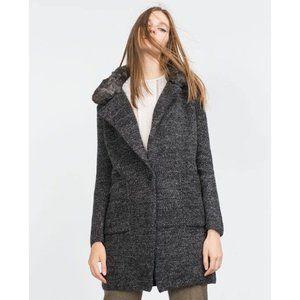 Zara | Fur lapel sweater jacket